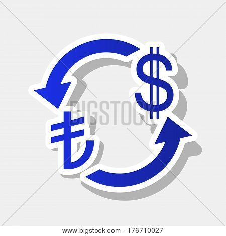 Currency exchange sign. Turkey Lira and US Dollar. Vector. New year bluish icon with outside stroke and gray shadow on light gray background.