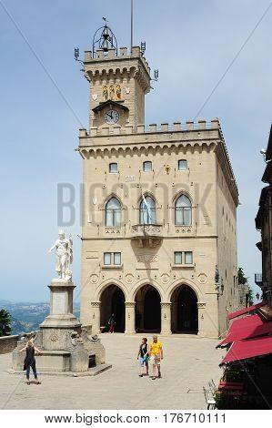 The Public Palace On Borgo Maggiore At San Marino