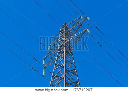 Power line (high voltage cable) and blue sky