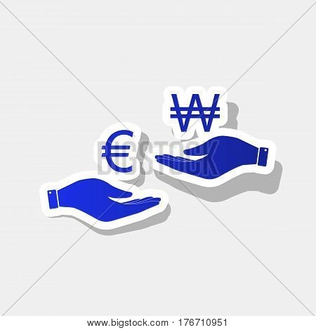 Currency exchange from hand to hand. Euro and Won. Vector. New year bluish icon with outside stroke and gray shadow on light gray background.