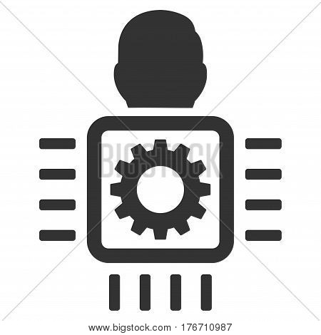 Cyborg Processor vector icon. Flat gray symbol. Pictogram is isolated on a white background. Designed for web and software interfaces.