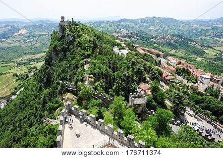 Borgo Meggiore, San Marino - 4 July 2014:  La Cesta fortless on Borgo Maggiore San Marino