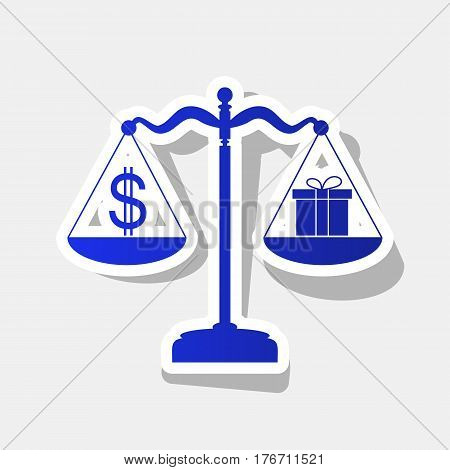 Gift and dollar symbol on scales. Vector. New year bluish icon with outside stroke and gray shadow on light gray background.