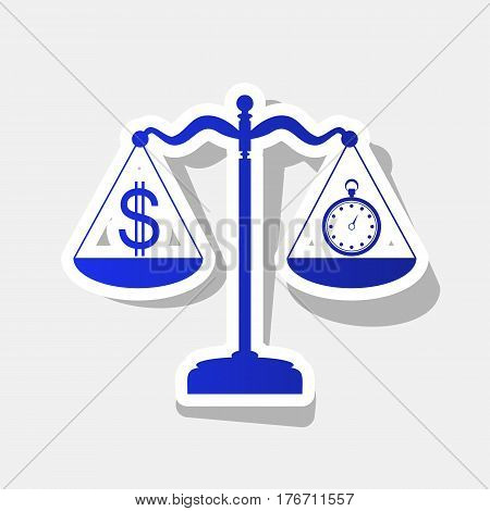 Stopwatch and dollar symbol on scales. Vector. New year bluish icon with outside stroke and gray shadow on light gray background.