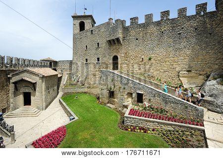 Tourists Visiting La Rocca Fortless On Borgo Maggiore, San Marino