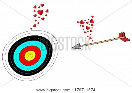 Love at first sight, an arrow and a target fall in love