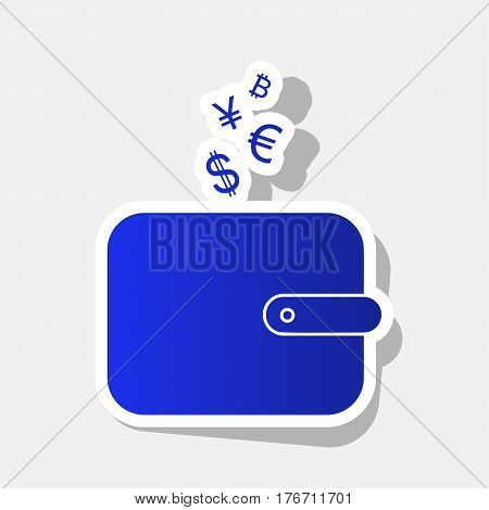 Wallet sign with currency symbols. Vector. New year bluish icon with outside stroke and gray shadow on light gray background.