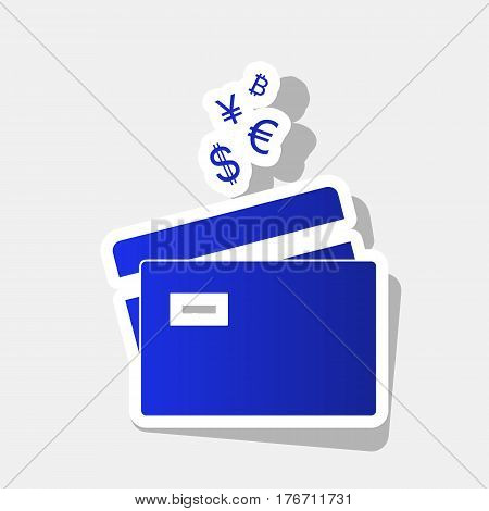 Credit cards sign with currency symbols. Vector. New year bluish icon with outside stroke and gray shadow on light gray background.