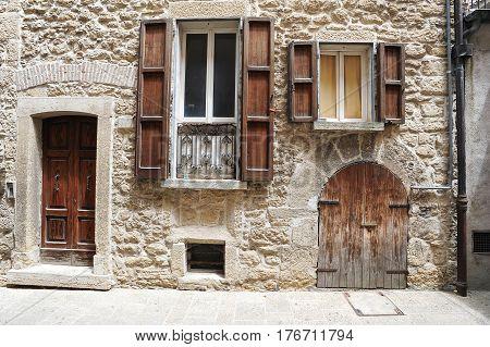 Borgo Meggiore, San Marino - 4 July 2014: Old house of Borgo Maggiore on San Marino