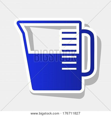 Beaker sign. Vector. New year bluish icon with outside stroke and gray shadow on light gray background.