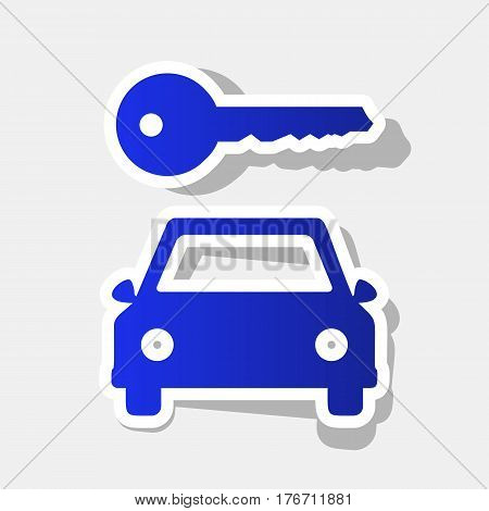 Car key simplistic sign. Vector. New year bluish icon with outside stroke and gray shadow on light gray background.