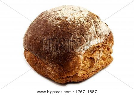 freshly balked and warm breakfast bap isolated on white background