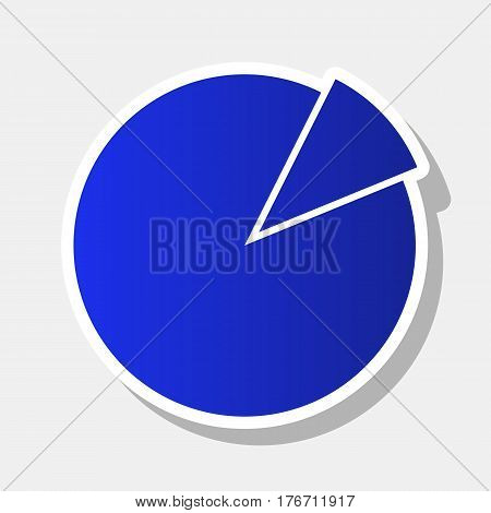 Finance graph sign. Vector. New year bluish icon with outside stroke and gray shadow on light gray background.