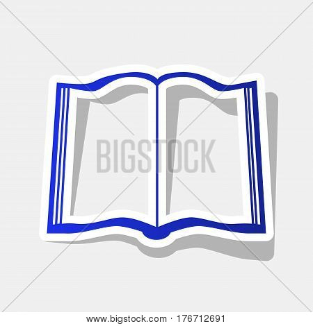 Book sign. Vector. New year bluish icon with outside stroke and gray shadow on light gray background.