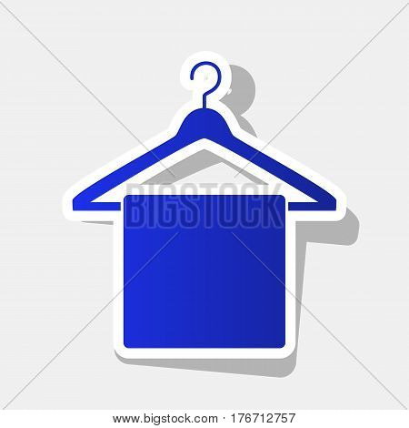 Towel On Hanger sign. Vector. New year bluish icon with outside stroke and gray shadow on light gray background.