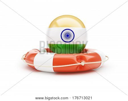 Lifebelt with India flag help on a white background 3D illustration