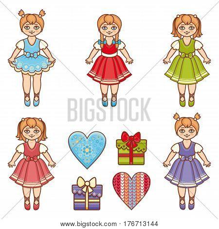 Little Ballerina. Cartoon style. Baby Doll. Set