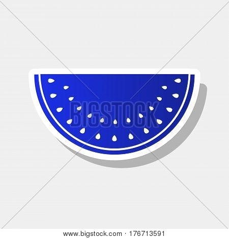Watermelon sign. Vector. New year bluish icon with outside stroke and gray shadow on light gray background.