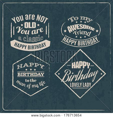 Minimalistic birthday quote typographical background . Vector set with hand drawn elements and illustration of pie and cake. Template for poster card and banner.