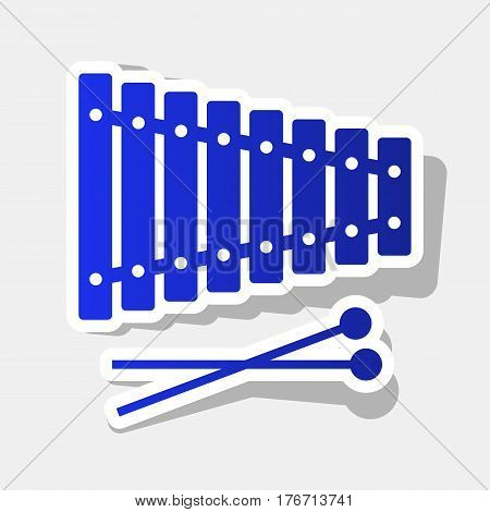 Xylophone sign. Vector. New year bluish icon with outside stroke and gray shadow on light gray background.