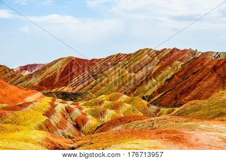 Zhangye Danxia landform in a radius of 50 square kilometers mountain hills, there are strange shape, colorful, magnificent.
