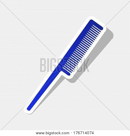 Comb sign. Vector. New year bluish icon with outside stroke and gray shadow on light gray background.