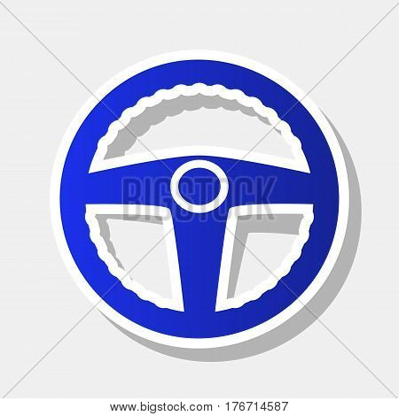 Car driver sign. Vector. New year bluish icon with outside stroke and gray shadow on light gray background.