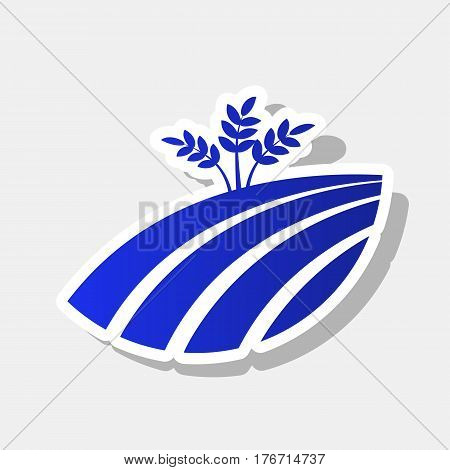 Wheat field sign. Vector. New year bluish icon with outside stroke and gray shadow on light gray background.