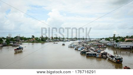 Floating Village In Mekong Delta, Vietnam
