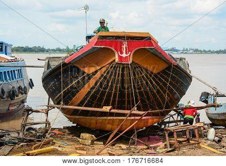 Wooden Cargo Boat Building At Shipyard