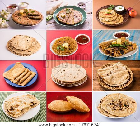 collage of indian bread, puri, roti, aloo paratha, gobhi paratha, muli paratha, naan, laccha paratha