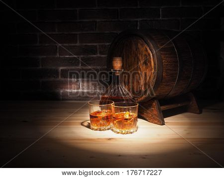 Glass Of Whiskey , Cigar And Old Oak Barrel