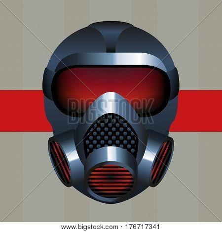 A Metallic Biohazard Gas Mask Icon Logo