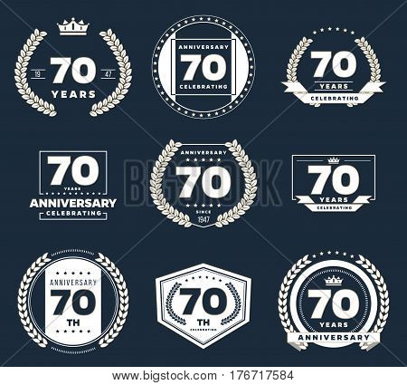 Seventy  years anniversary logotypes and badges. 70th anniversary logo collection.