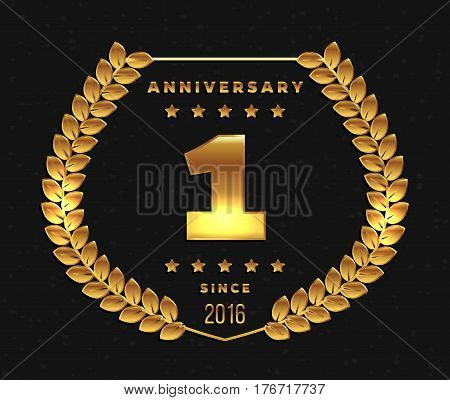 One year anniversary banner. 1st anniversary logo. Vector illustration.