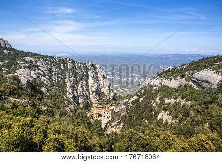 Aerial view of Montserrat mountains and Benedictine monastery of Santa Maria de Montserrat Spain