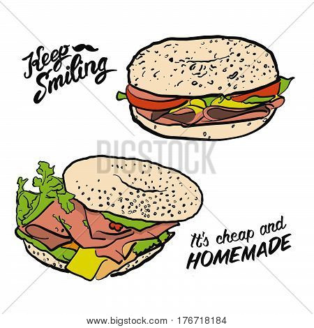 Colored Bagel Sandwich with handdrawn Type Vector Artsketch Illustration whith calligraphic lettering phrases