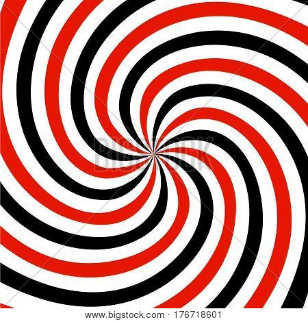 Red black and white summer spiral ray pattern background - vector version.