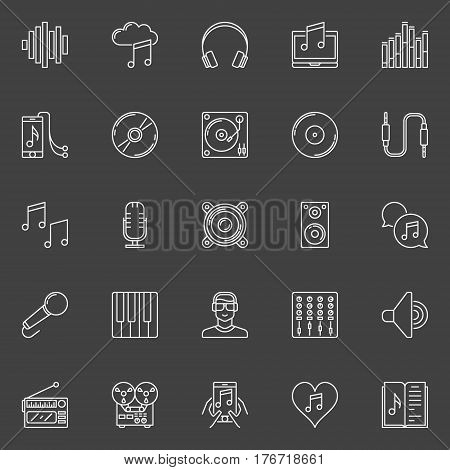 Sound and music icons - vector audio store creative signs or recording studio design elements on dark background