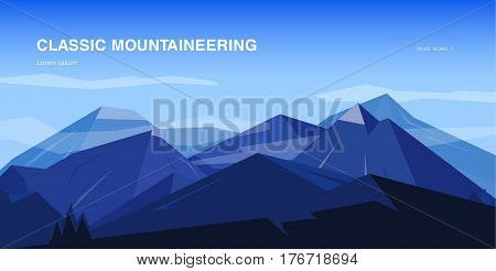Horizontal background with mountains, Mountaineering colorful illustration, concept with place for text. Banner in cartoon, flat style.