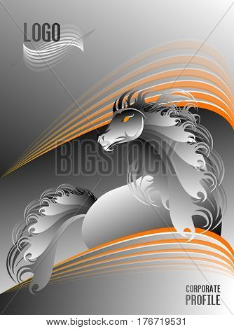 Silver And Orange Beautiful Stallion Horse Corporate Profile Cover Design