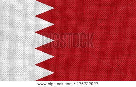 Flag Of Bahrain Old Linen
