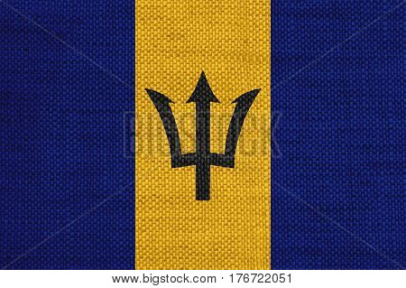 Flag Of Barbados On Old Linen