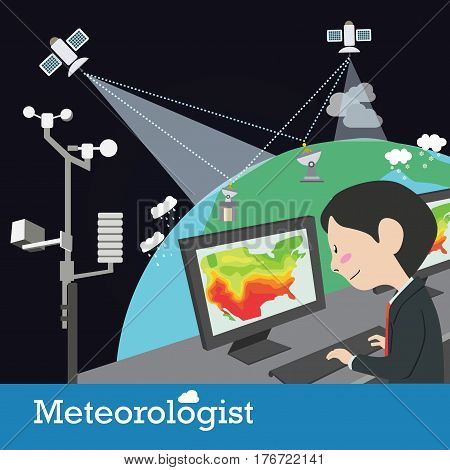 meteorologist occupation graphic illustration cartoon character design