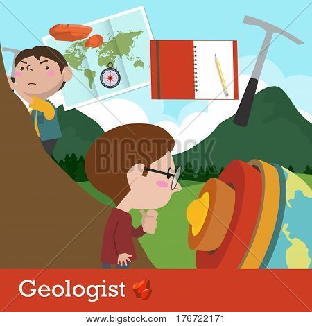geologist occupation vector cartoon character illustration design