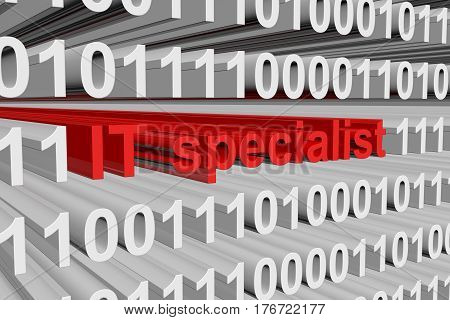 IT specialist is presented in the form of binary code 3d illustration