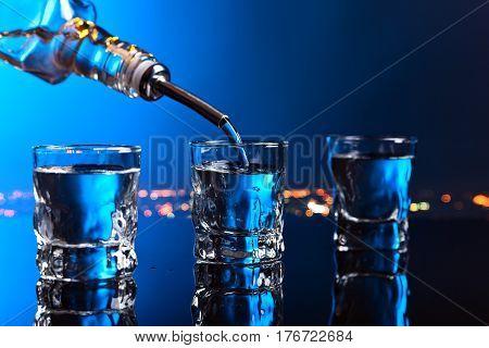 Vodka In Bar On A Black  Background