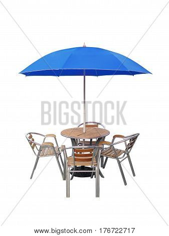 caffe table chair parasolisolated on white background