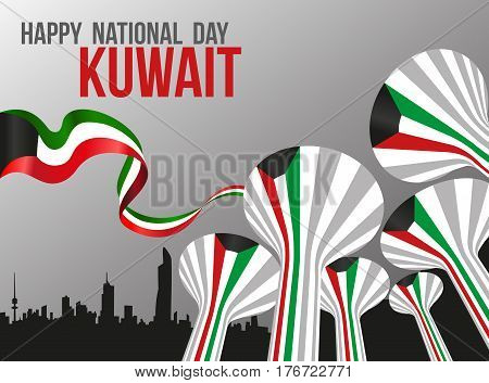 Silver Grey Poster - Landmarks Of Kuwait National Day - Water Towers