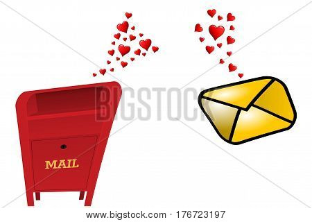 Love at first sight, a mailbox and an envelope fall in love
